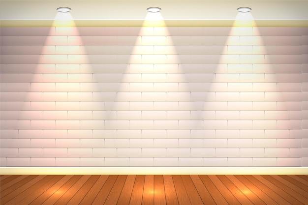 Blady mur z cegły na tle światła punktowego