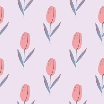 Blady tulipan kwiat sylwetki bez szwu wzór. różowe kolorowe pąki kwiatowe i niebieskie łodygi na bladym tle.