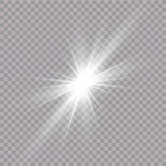 Blask efektu świetlnego. jasna gwiazda. przezroczyste świecące słońce, jasny błysk.