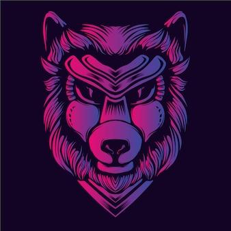 Blask grafiki głowy wilka