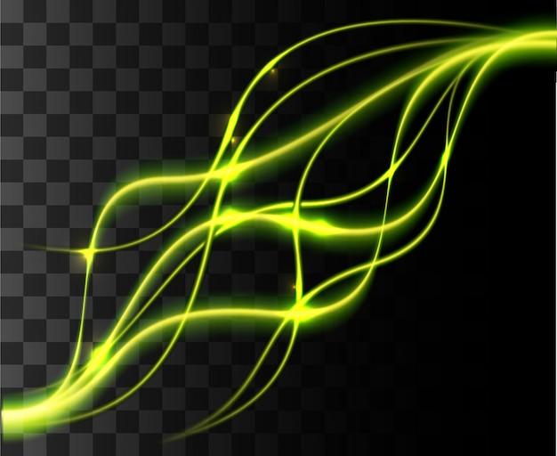 Blask izolowany zielony przezroczysty efekt, flara obiektywu, eksplozja, blask, linia, błysk słońca, iskra i gwiazdy.