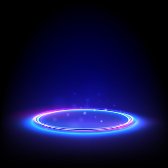 Blask neonowy okrąg. niebieski świecący pierścień na podłodze. streszczenie tło hi-tech do wyświetlania produktu.