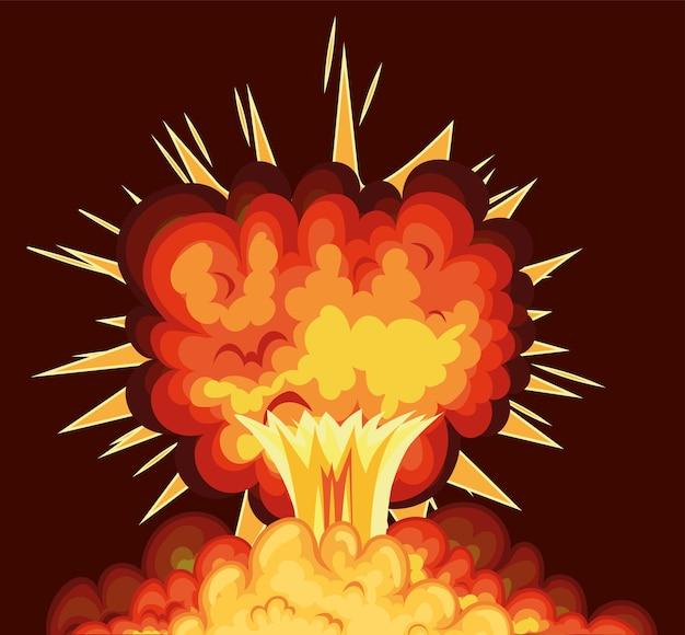 Blast z chmurami ognia w kolorze pomarańczowym na czerwonym tle.