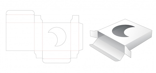 Blaszane kwadratowe pudełko z wykrojnikiem w kształcie księżyca