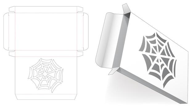 Blaszane pudełko z szablonem wycinanym z szablonem pajęczej sieci