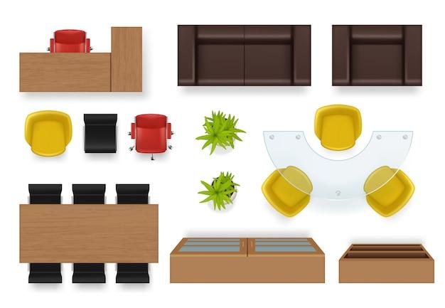 Blat wnętrza biura. nowoczesny pokój biznesowy z widokiem na meble kanapa krzesła biurka szafa garderoba realistyczne przedmioty. widok wnętrza biura z góry do ilustracji fotela, biurka i sofy