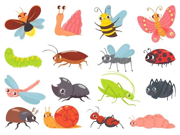 Błędy z kreskówek. mały owad, zabawny szczęśliwy robak i urocza biedronka