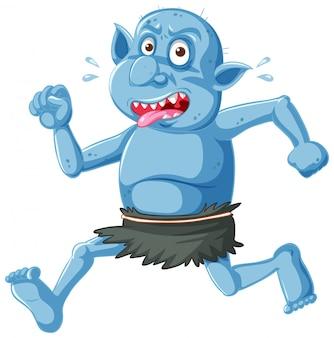 Błękitna goblina lub trolla bieg poza z śmieszną twarzą w postać z kreskówki odizolowywającą