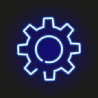 Błękitna neonowa rozjarzona sylwetka przekładnie, wektorowa ilustracja