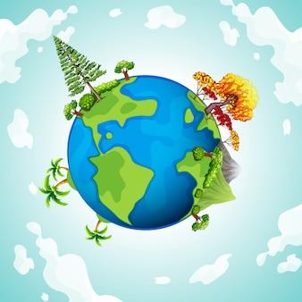 Błękitna planeta z drzewami i górami
