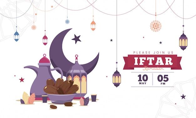 Błękitna płaska projekta iftar przyjęcia świętowania ulotki pojęcia ilustracja. sweet dates, fanous lantern i arabski kubek kawy. islamski święty miesiąc, ramadan kareem. szablon typografii dla tekstu
