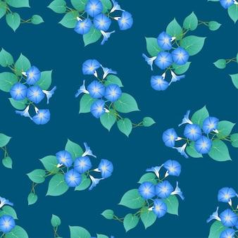Błękitna ranek chwała na zielonym cyraneczki tle