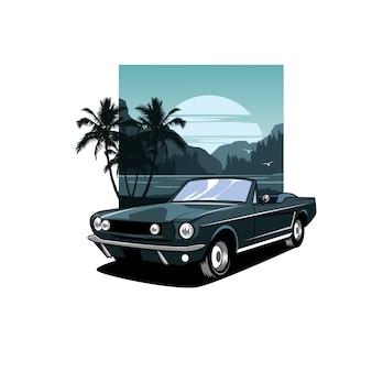 Błękitna samochodu i zmierzchu ilustracja