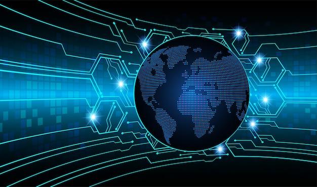 Błękitna światowa mapa cyber obwodu deski przyszłości technologia