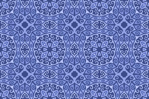 Błękitna sztuka z bezszwowym abstrakcjonistycznym orientalnym bezszwowym wzorem