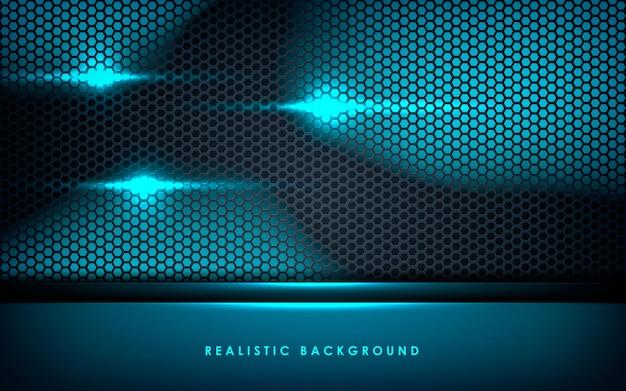 Błękitne abstrakcjonistyczne warstwy na czarnym sześciokąta tle