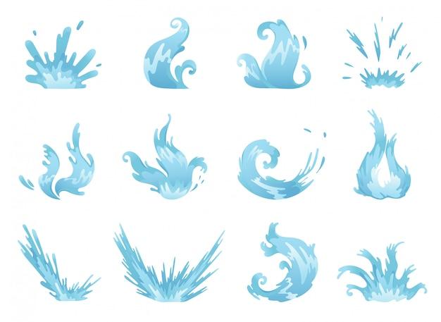 Błękitne fala i pluśnięcia ustawiają wodę, faliste symbole natury w ruchu wektoru ilustracjach.