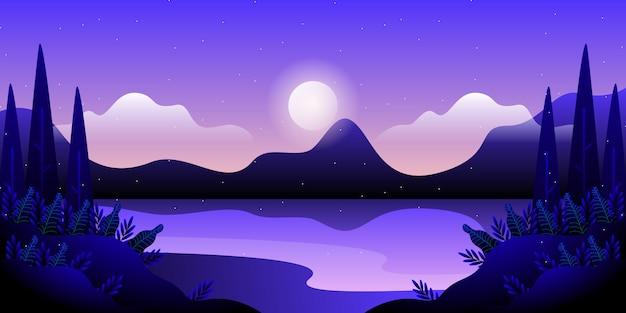 Błękitne niebo i morze pejzaż ilustracja
