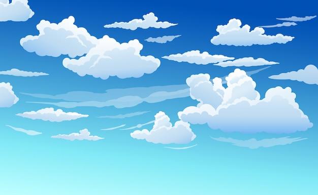 Błękitne niebo z białymi chmurami jasny słoneczny dzień