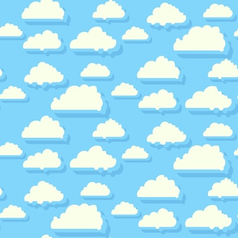 Błękitne niebo z chmurami bezszwowe tło wzór