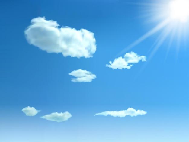 Błękitne niebo z chmurami i słońcem. tło wektor.