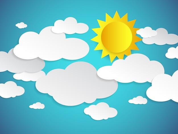 Błękitne niebo z chmurami i słońcem w stylu sztuki papieru