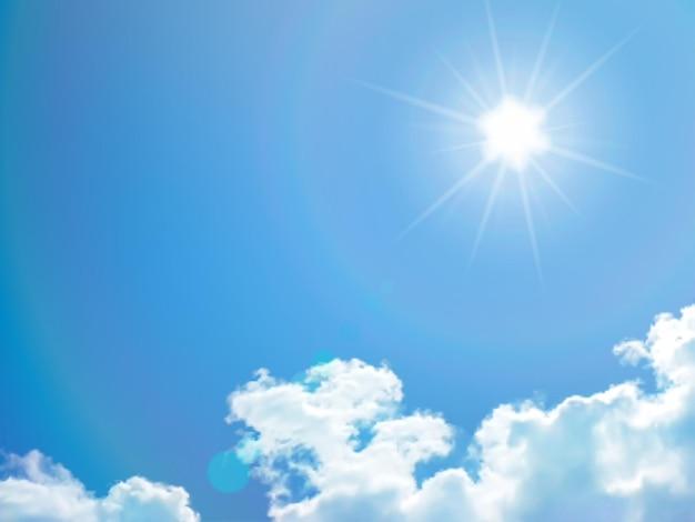 Błękitne niebo z chmurami i słońcem wektor tle