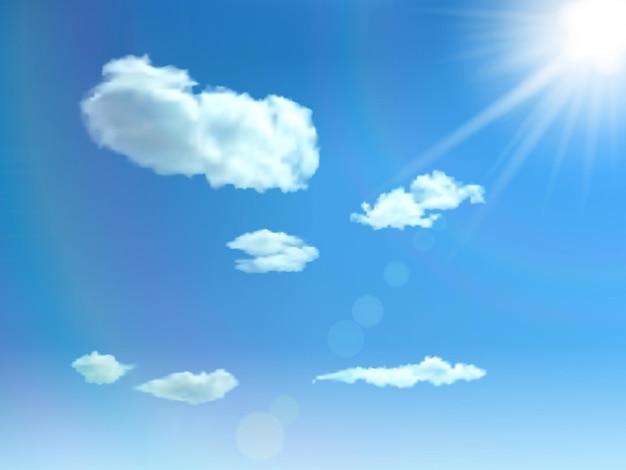 Błękitne niebo z chmurami, słońcem i blaskiem. tło wektor.