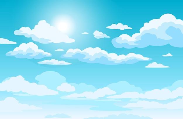 Błękitne niebo z chmurami w stylu anime w tle ze świecącym słońcem i białymi puszystymi chmurami