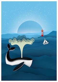 Błękitne wieloryby w morzu w nocy.