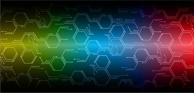 Błękitnego czerwonego cyber obwodu technologii przyszłościowy tło