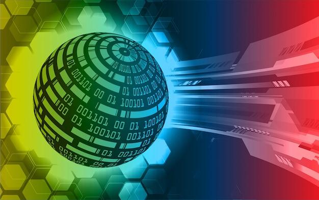 Błękitnego czerwonego światowego cyber obwodu technologii przyszłościowy tło