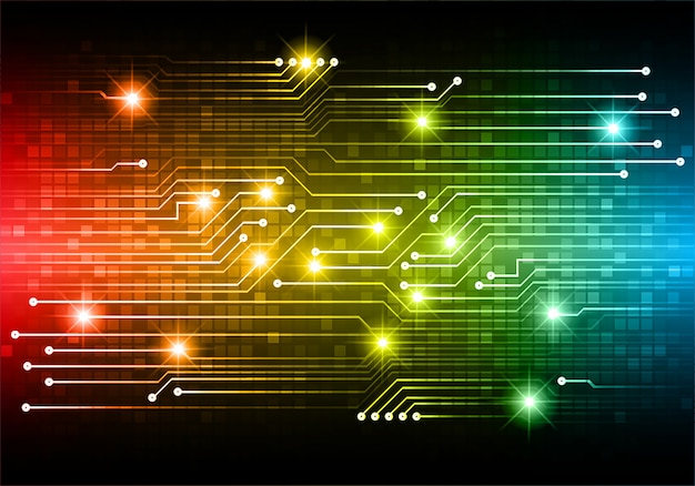 Błękitnego czerwonego żółtego cyber obwodu technologii pojęcia przyszłościowy tło