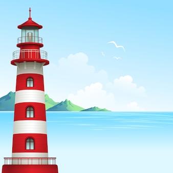 Błękitnego morza tło z fala i latarnią morską.