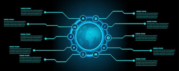 Błękitnego światu hud cyber obwodu technologii pojęcia przyszłościowy tło