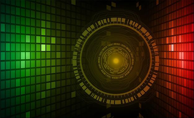 Błękitnego zielonego oka cyber obwodu technologii pojęcia przyszłościowy tło