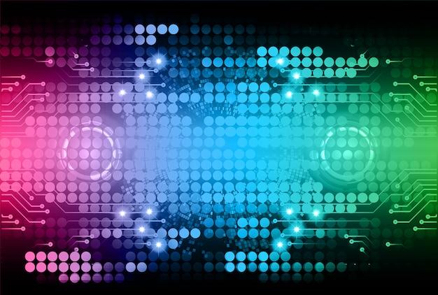 Błękitnej zieleni menchii cyber obwodu technologii pojęcia przyszłościowy tło