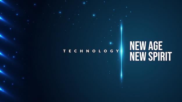 Błękitny abstrakcjonistyczny futurystyczny technologii tło z lśnienia i błyszczącym przedmiotem.