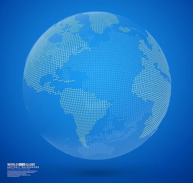 Błękitny abstrakt kropkujący kula ziemska wektor