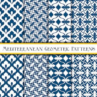 Błękitny elegancki geometryczny śródziemnomorski bezszwowy wzór