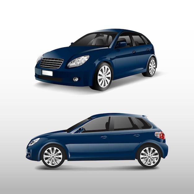 Błękitny hatchback samochód odizolowywający na białym wektorze