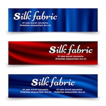 Błękitny i czerwony jedwabniczej tkaniny sztandarów szablon