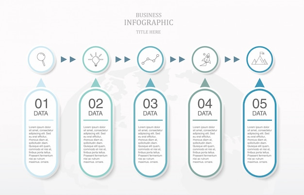 Błękitny kolor infographic i ikony dla biznesowego pojęcia.