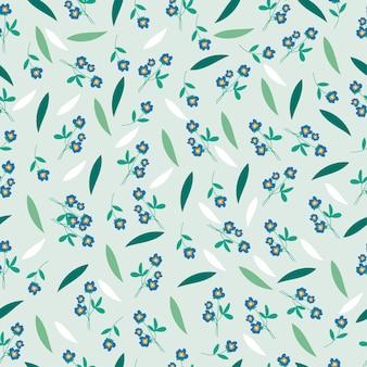 Błękitny kwiat i liść bezszwowy wzór