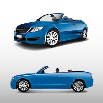 Błękitny odwracalny samochód odizolowywający na białym wektorze