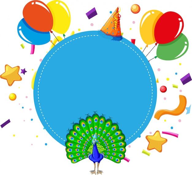 Błękitny pawi urodzinowej karty tła copyspace