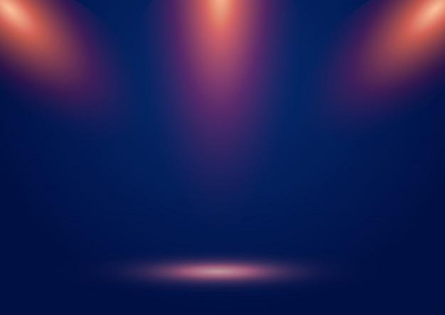 Błękitny sceny przedstawienia tło z światłami reflektorów