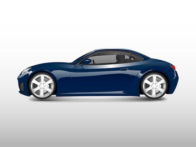 Błękitny sporta samochód odizolowywający na białym wektorze