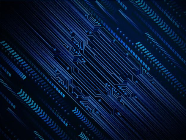Błękitny strzałkowaty cyber obwodu przyszłościowy technologii pojęcia tło