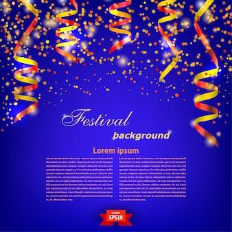 Błękitny świąteczny tło szablon z jaskrawą czerwoną serpentyną. festiwal. ilustracji wektorowych